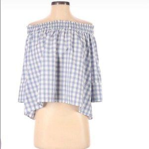 Alythea Women's Small Off The Shoulder Top Gingham